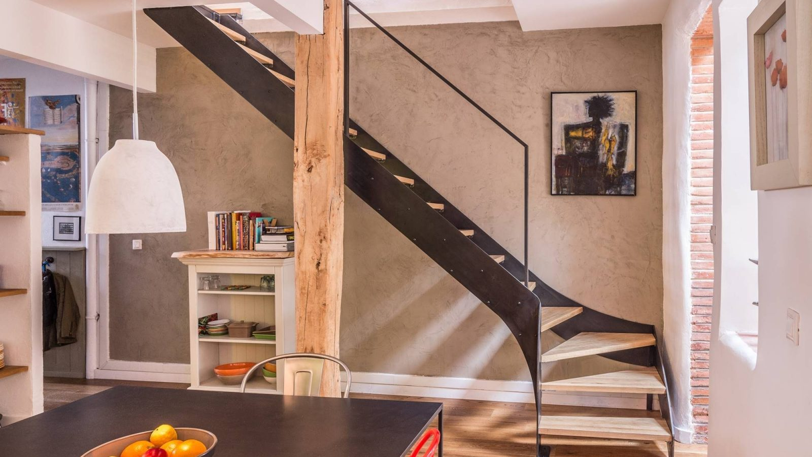 Escalier 1 4 Tournant Metal Et Bois Intemporel 3 Atmos