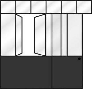 Verrière avec soubassement fenêtre battante porte coulissante