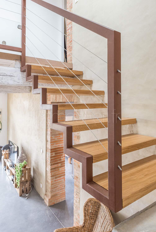 Escalier b ton et acier graphique 5 atmos fer toulouse - Escalier contemporain beton ...